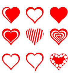 collection red hearts vector image