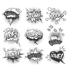 Comic speech bubbles dynamic set vector