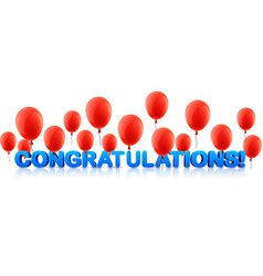 Congratulations banner with red balloons vector
