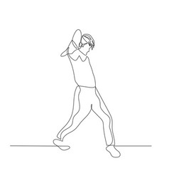continuous one line dancing man with fashion vector image