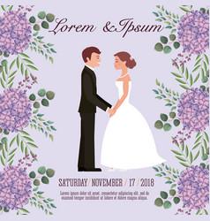 Couple wedding card vector