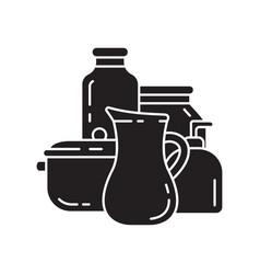 Cutout silhouette kitchen utensil icon saucepan vector