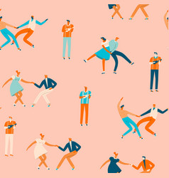 Dancing couples people seamless pattern vector