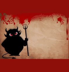 Devil with predatory red eyes silhouette holding vector