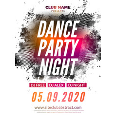 Disco dance party flyer poster dj dance music vector