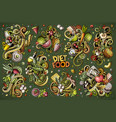 Doodles cartoon set of diet food vector