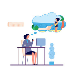dreaming woman office girl dreams about beach vector image