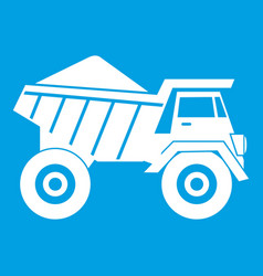 dump truck with sand icon white vector image