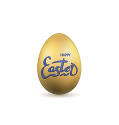 easter egg 3d icon gold egg lettering isolated vector image