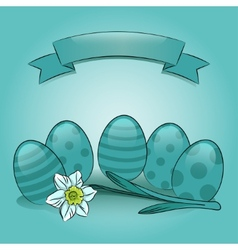 Easter eggs with daffodil and banner vector image