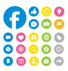 Facebook social media button icons vector