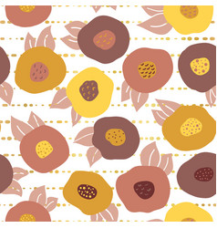 fall doodle flowers and gold foil seamless pattern vector image