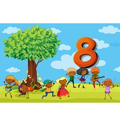 Flashcard number 8 with eight children in the park vector image