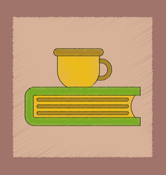 Flat shading style icon book cup vector