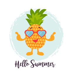 funny background with pineapple in sunglasses vector image