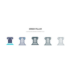 Greek pillar icon in different style two colored vector