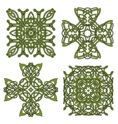 Green isolated celtic and irish crosses vector