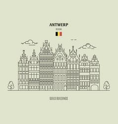 guild buildings in antwerp vector image