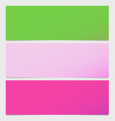 Halftone circle pattern banner template set vector