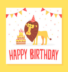 happy birthday banner template invitation with vector image
