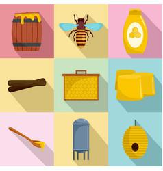honeybee icons set flat style vector image