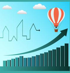 Hot air baloon symbolizes business profit rising vector