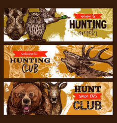 Hunting sport hunter club banner with wild animal vector