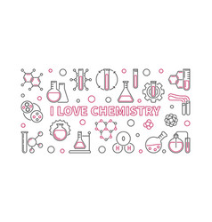 i love chemistry science concept outline vector image