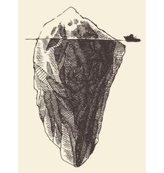 Iceberg Ship Vintage Engraved Sketch vector image