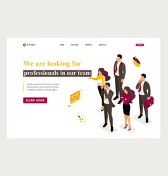 Isometric company employees looking professionals vector