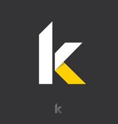 K letter monogram white yellow ribbon vector