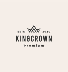 King crown hipster vintage logo icon vector