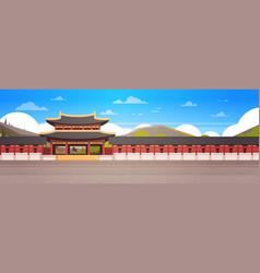 Korea palace landscape south korean temple over vector