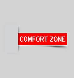 Label sticker red color in word comfort zone that vector