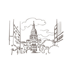 Lansing michigan america sketch city line art vector