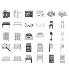 Library and bookstore monochromeoutline icons in vector