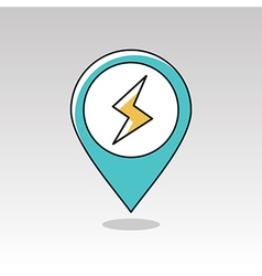 Lightning pin map icon Meteorology Weather vector