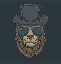 lion head eyeglasses vector image