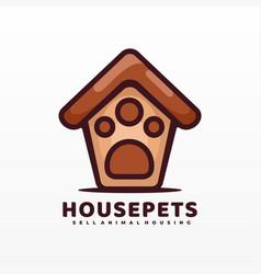 Logo house pets simple cartoon style vector