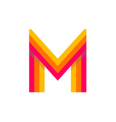 logo letter m red glowing vector image