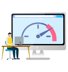 man working at desktop computer image vector image