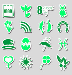 March month theme set of simple stickers eps10 vector