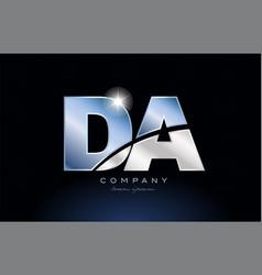 Metal blue alphabet letter da d a logo company vector
