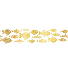 metallic gold foil fishes seamless border vector image