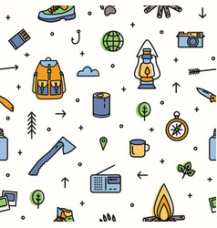 Modern seamless pattern with hiking and touristic vector
