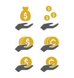 Money hold icon vector