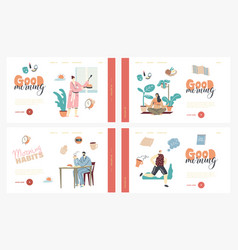 morning habits characters daily routine landing vector image