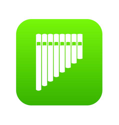 pan flute icon digital green vector image