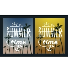 Paradise Island-Palm Tree Sunset summer poster vector image