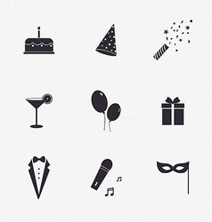 Party icons and celebration icons with white vector